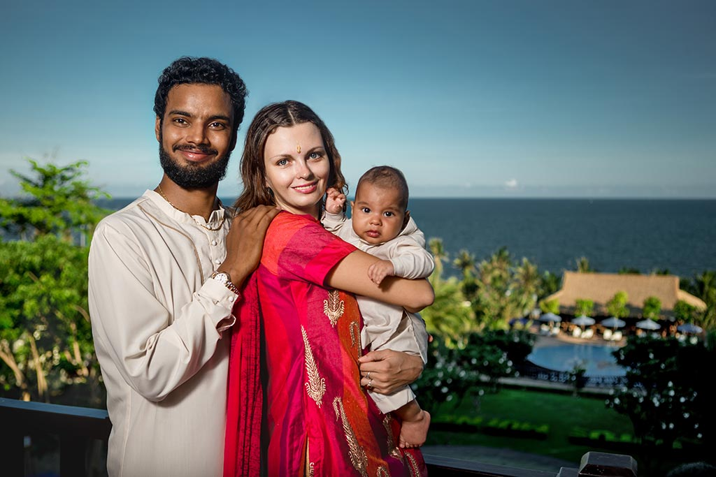 Mixed race family with baby