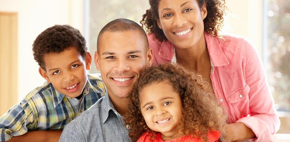 Happy mixed race family protrait