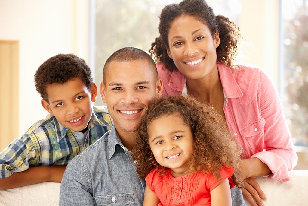 Happy mixed race family protrait